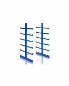 Kragarmregal Komplettregal für leichte Güter, beidseitig nutzbar, H2000xB1280xT2x500 mm, RAL 5010 / enzianblau