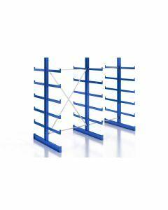 Kragarmregal Komplettregal für leichte Güter, beidseitig nutzbar, H2000xB2510xT2x500 mm, RAL 5010 / enzianblau
