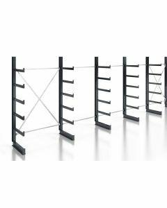 Kragarmregal Komplettregal für leichte Güter, einseitig nutzbar, H2000xB7430xT500 mm, RAL 7016 anthrazit