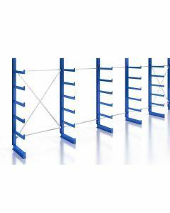Kragarmregal Komplettregal für leichte Güter, einseitig nutzbar, H2000xB7430xT500 mm, RAL 5010 / enzianblau