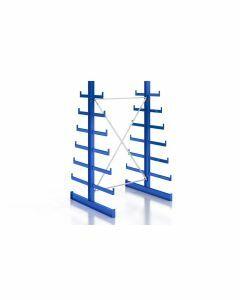 Kragarmregal Komplettregal für leichte Güter, beidseitig nutzbar, H2000xB1280xT2x250-500 mm, RAL 5010 / enzianblau