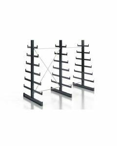 Kragarmregal Komplettregal für leichte Güter, beidseitig nutzbar, H2000xB2510xT2x250-500 mm, RAL 7016 anthrazit