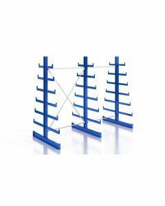 Kragarmregal Komplettregal für leichte Güter, beidseitig nutzbar, H2000xB2510xT2x250-500 mm, RAL 5010 / enzianblau