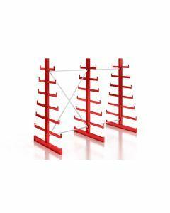 Kragarmregal Komplettregal für leichte Güter, beidseitig nutzbar, H2000xB2510xT2x250-500 mm, RAL 3000 feuerrot