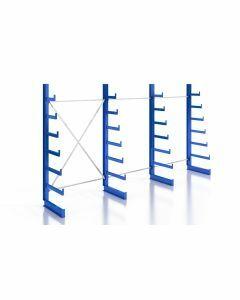 Kragarmregal Komplettregal für leichte Güter, einseitig nutzbar, H2000xB3740xT250-500 mm, RAL 5010 / enzianblau
