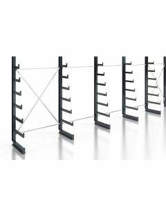 Kragarmregal Komplettregal für leichte Güter, einseitig nutzbar, H2000xB7430xT250-500 mm, RAL 7016 anthrazit