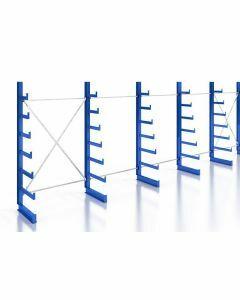 Kragarmregal Komplettregal für leichte Güter, einseitig nutzbar, H2000xB7430xT250-500 mm, RAL 5010 / enzianblau