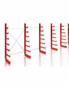Kragarmregal Komplettregal für leichte Güter, einseitig nutzbar, H2000xB7430xT250-500 mm, RAL 3000 feuerrot