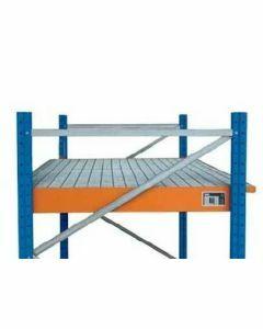 Einhängewanne für Holmlänge 3300 mm, H110xB3250xT1250/915 mm mit Gitterrost, RAL 5010 enzianblau/ verzinkt