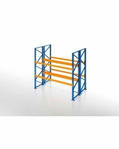 Palettenregal, Doppelregal, 3 Lagerebenen, H3500xB1825xT2x1100 mm, Fachlast 3800 kg, 6 Palettenplätze, Rahmen blau, Traverse orange