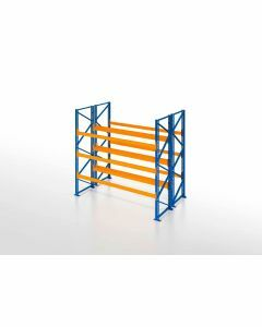 Palettenregal, Doppelregal, 4 Lagerebenen, H3000xB1825xT2x1100 mm, Fachlast 3000 kg, 8 Palettenplätze, Rahmen blau, Traverse orange