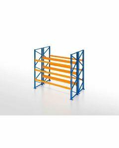 Palettenregal, Doppelregal, 4 Lagerebenen, H2500xB2700xT2x1100 mm, Fachlast 3000 kg, 12 Palettenplätze, Rahmen blau, Traverse orange