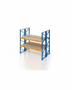 Palettenregal, Doppelregal mit Spanplatten, 3 Lagerebenen, H2500xB1825xT2x1100 mm, Fachlast 3800 kg, 6 Palettenplätze, Rahmen blau, Traverse orange