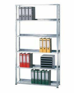 Büroregal, Grundregal, Schraubystem - einseitig nutzbar ohne Anschlagleiste, H1800xB1300xT300 mm, RAL 7035 lichtgrau