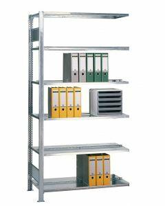 Büroregal Stecksystem, Anbauregal, beidseitig nutzbar mit Mittelanschlag, H1800xB750xT600 mm, Fachlast 150 kg, Rahmen RAL 7035 lichtgrau, Fachböden RAL 7035 lichtgrau