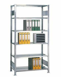 Büroregal Stecksystem, Grundregal, beidseitig nutzbar ohne Mittelanschlag, H1800xB750xT600 mm, Fachlast 150 kg, Rahmen sendzimirverzinkt, Fachböden verzinkt
