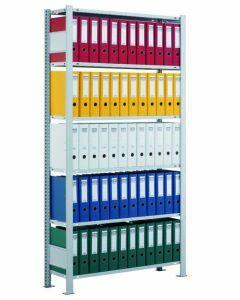 Büroregal Stecksystem, Grundregal, einseitig nutzbar ohne Anschlagleiste, H1800xB750xT300 mm, Fachlast 85 kg, Rahmen sendzimirverzinkt, Fachböden verzinkt