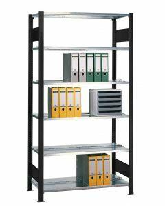 Büroregal Stecksystem, Grundregal, beidseitig nutzbar ohne Mittelanschlag, H1800xB750xT600 mm, Fachlast 150 kg, Rahmen schwarz, Fachböden RAL 7035 lichtgrau