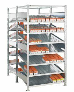 Doppel-Kanbanregal, Grundregal, beidseitig nutzbar, H2000xB1000xT2x500 mm, Ausführung - Mit Trenn- und Seitenführungen, verzinkt