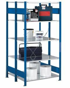 Doppelregal Stecksystem, Grundregal, mit Kreuzstrebe, H2000xB1000xT2x300, Fachlast 150kg, RAL 5010 enzianblau