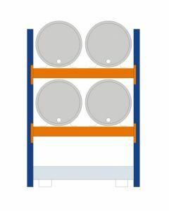 Fassregal - für stehende und liegende Lagerung, Grundregal, Einrichtung 4 x 200 | liegend, Rahmen H x T 2000 x 800 mm