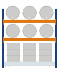 Fassregal - für stehende und liegende Lagerung, Grundregal, Einrichtung 6 x 200 l liegend 6 x 200 l stehend, Rahmen H x T 2500 x 800 mm