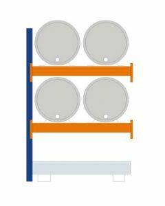 Fassregal - für stehende und liegende Lagerung, Anbauregal, Einrichtung 4 x 200 | liegend, Rahmen H x T 2000 x 800 mm