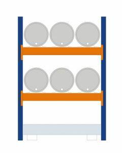 Fassregal - für stehende und liegende Lagerung, Grundregal, Einrichtung 6 x 60 l liegend, Rahmen H x T 2000 x 800 mm