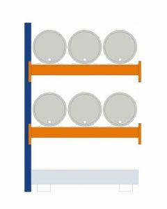 Fassregal - für stehende und liegende Lagerung, Anbauregal, Einrichtung 6 x 60 l liegend, Rahmen H x T 2000 x 800 mm