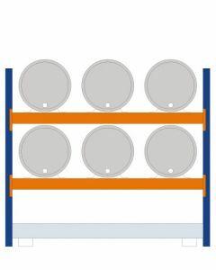 Fassregal - für stehende und liegende Lagerung, Grundregal, Einrichtung 6 x 200 l liegend, Rahmen H x T 2000 x 800 mm