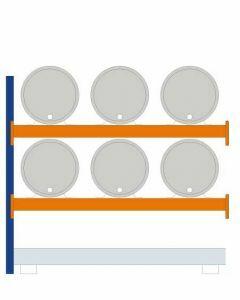 Fassregal - für stehende und liegende Lagerung, Anbauregal, Einrichtung 6 x 200 l liegend, Rahmen H x T 2000 x 800 mm