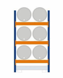 Fassregal - für stehende und liegende Lagerung, Grundregal, Einrichtung 6 x 200 l liegend , Rahmen H x T 2500 x 800 mm