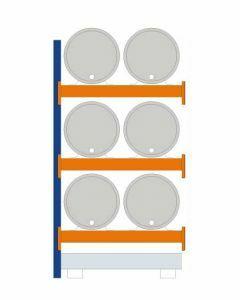 Fassregal - für stehende und liegende Lagerung, Anbauregal, Einrichtung 6 x 200 l liegend , Rahmen H x T 2500 x 800 mm