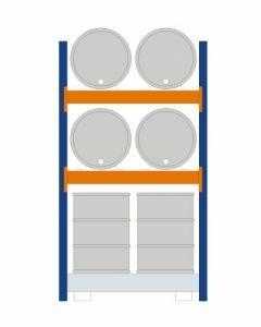 Fassregal - für stehende und liegende Lagerung, Grundregal, Einrichtung 4 x 200 l liegend 4 x 200 l stehend, Rahmen H x T 2500 x 800 mm