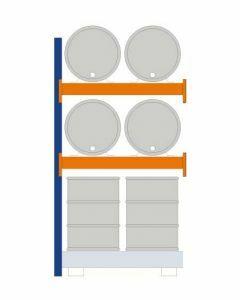Fassregal - für stehende und liegende Lagerung, Anbauregal, Einrichtung 4 x 200 l liegend 4 x 200 l stehend, Rahmen H x T 2500 x 800 mm