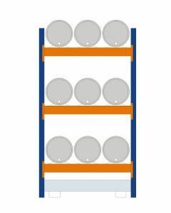 Fassregal - für stehende und liegende Lagerung, Grundregal, Einrichtung 9 x 60 l liegend, Rahmen H x T 2500 x 800 mm