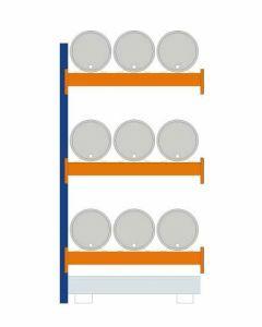 Fassregal - für stehende und liegende Lagerung, Anbauregal, Einrichtung 9 x 60 l liegend, Rahmen H x T 2500 x 800 mm