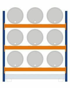 Fassregal - für stehende und liegende Lagerung, Grundregal, Einrichtung 9 x 200 l liegend, Rahmen H x T 2500 x 800 mm