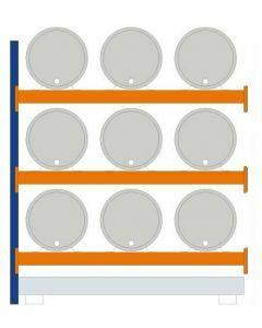 Fassregal - für stehende und liegende Lagerung, Anbauregal, Einrichtung 9 x 200 l liegend, Rahmen H x T 2500 x 800 mm