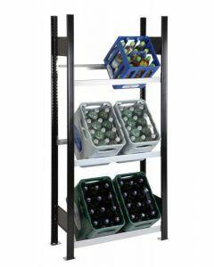Getränkekisten-Regal, Grundregal, H1800xB750xT300 mm, schwarz/silber