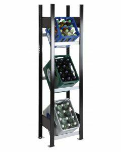 Getränkekisten-Regal, Grundregal, H1800xB400xT300 mm, schwarz/silber