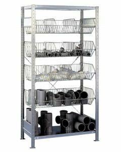 Drahtgitterkorbregal, Anbauregal, H2000xB1000xT500 mm, Fachlast 150 kg, Feldlast 1100 kg, verzinkt