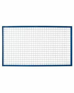 Gitter-Rückwand für Rahmen S625-A18, A635-B20 und S645-B25, Gitterhöhe 1500 mm, Feldbreite 3300 mm, Rahmen blau, Maschengitter verzinkt
