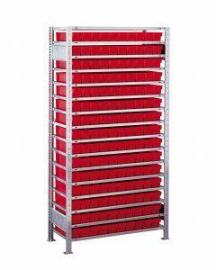 Kleinteileregal-Set, Grundregal, H2000xB1000xT300 mm, Fachlast 150 kg, Feldlast 2400 kg, verzinkt