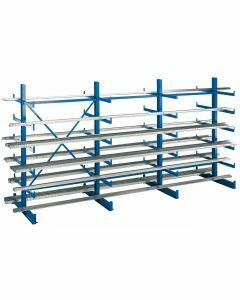 Kragarmregal K 1000, Set, beidseitig nutzbar, H2000xB3750xT2x500 mm, RAL 5010 enzianblau