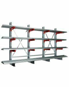 Kragarmregal K 3000, Komplettregal, beidseitig nutzbar, H2500xB6500xT2x400 mm,  Anz. Felder 5, RAL 7001 silbergrau / RAL 3000 feuerrot