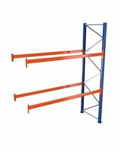 Palettenregal, Anbauregal, 3 Lagerebenen, H5000xB2786xT1100 mm, Palettengewicht bis 860 kg,  9 Palettenplätze, RAL 5010 / RAL 2004