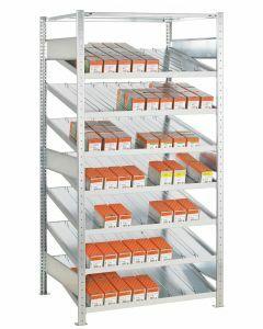 Kanbanregal, Grundregal, beidseitig nutzbar, H2000xB1000xT800 mm, Ausführung - Mit Trenn- und Seitenführungen, verzinkt