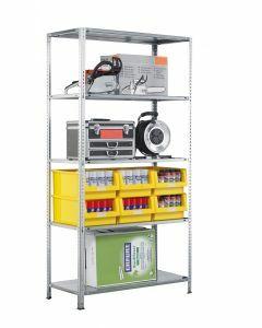 Fachbodenregal Schraubsystem, Grundregal, H2000xB750xT400, 5 Fachböden, Fachlast 150kg, RAL 7035 lichtgrau