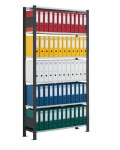 Büroregal Stecksystem, Grundregal, einseitig nutzbar ohne Anschlagleiste, H2000xB1300xT300 mm, Fachlast 85 kg, Rahmen schwarz, Fachböden RAL 7035 lichtgrau